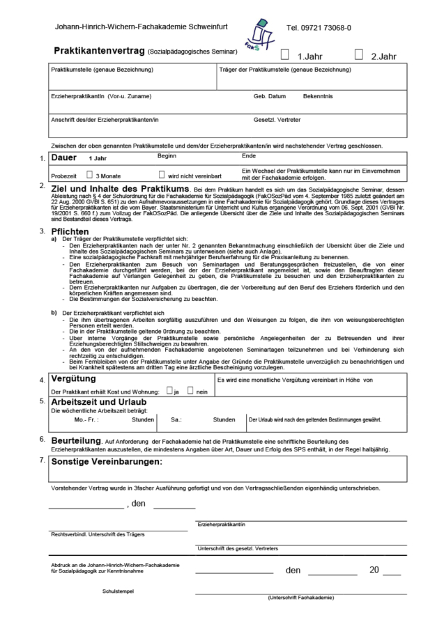 Praktikantenvertrag Sps Fachakademie Für Sozialpädagogik